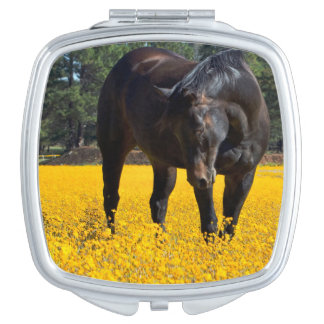 Bay Horse in a Field of Yellow Flowers Travel Mirror