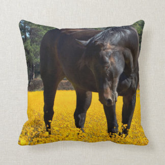 Bay Horse in a Field of Yellow Flowers Throw Pillows
