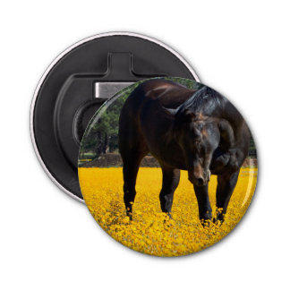 Bay Horse in a Field of Yellow Flowers Button Bottle Opener