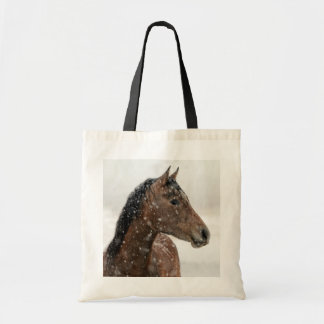 Bay Horse in Gently Falling Snow Tote Bag