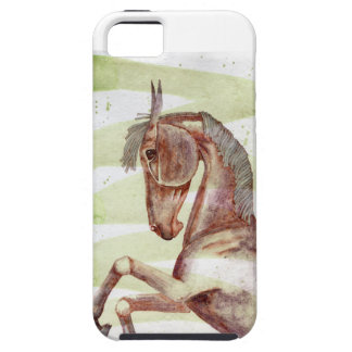 Bay Horse On Serpentine Green Watercolor Wash iPhone 5 Cases