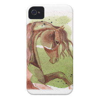 Bay Horse On Serpentine Green Watercolor Wash iPhone 4 Case-Mate Cases