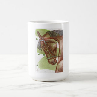 Bay Horse On Serpentine Green Watercolor Wash Mugs