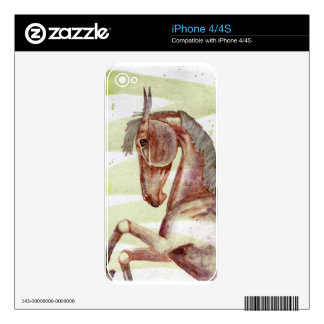 Bay Horse On Serpentine Green Watercolor Wash iPhone 4S Decal