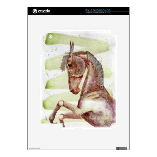 Bay Horse On Serpentine Green Watercolor Wash Decal For iPad 2