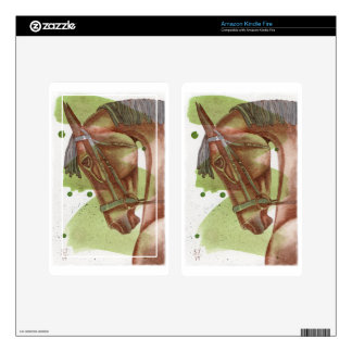 Bay Horse On Serpentine Green Watercolor Wash Skin For Kindle Fire