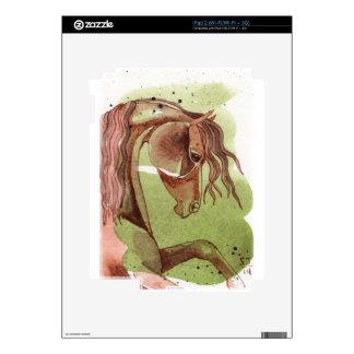 Bay Horse On Serpentine Green Watercolor Wash iPad 2 Skin
