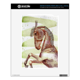 Bay Horse On Serpentine Green Watercolor Wash Decals For NOOK