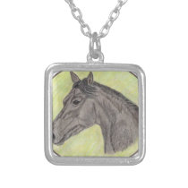 Bay Horse Sketch Silver Plated Necklace