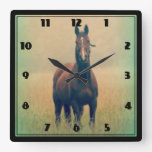 Bay Horse Standing in a Field Square Wall Clock