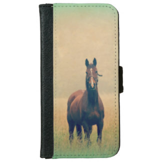 Bay Horse Standing in a Field Wallet Phone Case For iPhone 6/6s