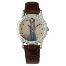 Bay Horse Standing in a Field Wrist Watch