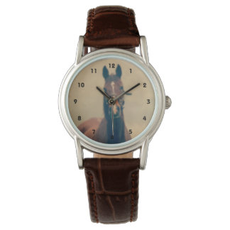 Bay Horse Standing in a Field Wrist Watch
