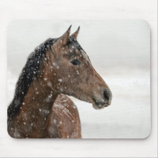Bay Horse Standing in Gently Falling Snow Mouse Pad