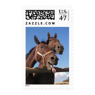 Bay Horse Sticking out Tongue Postage