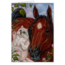 BAY HORSE White Persian Cat Note Card
