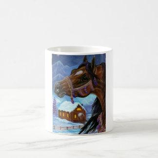 BAY HORSE WINTER CABIN Mug