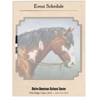 Bay Indian Pony Pinto Horse Tan Dry-Erase Board