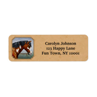 Bay Indian Pony Pinto Horse Tan Label