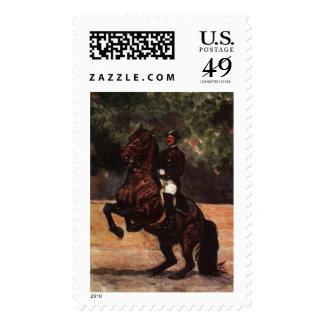 Bay Lipizzaner Dressage: Levade Postage Stamp