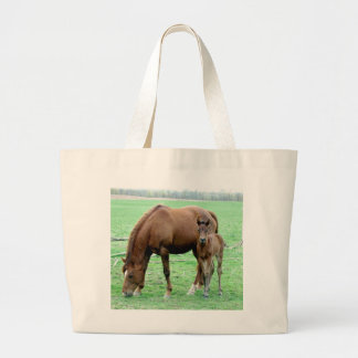 Bay Mare and Her Colt Large Tote Bag