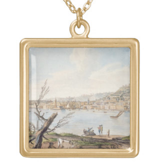Bay of Naples from sea shore near the Maddalena Br Gold Plated Necklace