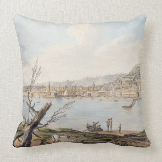 Bay of Naples from sea shore near the Maddalena Br Throw Pillows