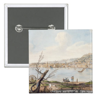 Bay of Naples from sea shore near the Maddalena Br Pinback Button
