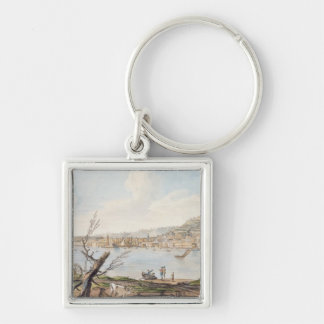 Bay of Naples from sea shore near the Maddalena Br Silver-Colored Square Keychain