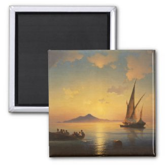 Bay of Naples Ivan Aivazovsky seascape waterscape 2 Inch Square Magnet