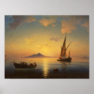 Bay of Naples Ivan Aivazovsky seascape waterscape Poster