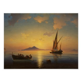 Bay of Naples Ivan Aivazovsky seascape waterscape Poster