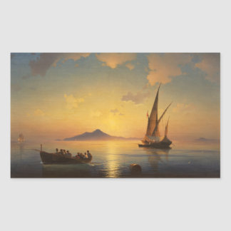 Bay of Naples Ivan Aivazovsky seascape waterscape Rectangular Sticker
