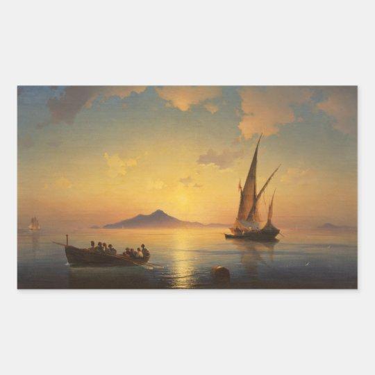 Bay of Naples Ivan Aivazovsky seascape waterscape Rectangular Sticker