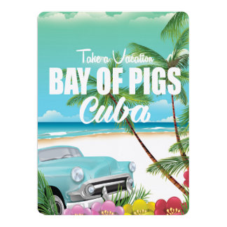 Bay of Pigs, Cuba beach vacation poster Card