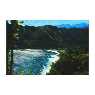 Bay On the Road to Hana Maui Hawaii Abstract Stretched Canvas Print