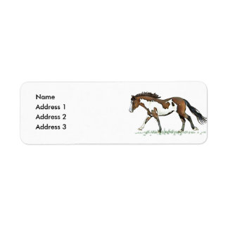 Bay Paint Horse Cantering, Address 2, Address 3... Label