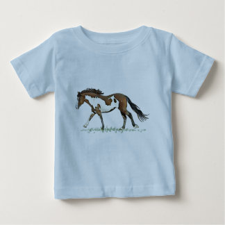 Bay Paint Horse Cantering Baby T-Shirt