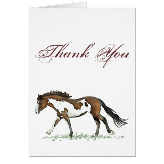Bay Paint Horse Cantering Card