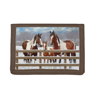 Bay Paint Horses In Snow Trifold Wallet
