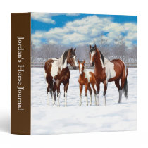 Bay Pinto Paint Horses In Winter Snow 3 Ring Binder