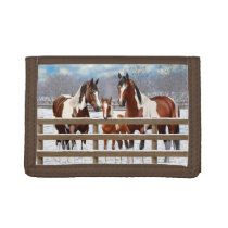 Bay Pinto Paint Horses In Winter Snow Trifold Wallet