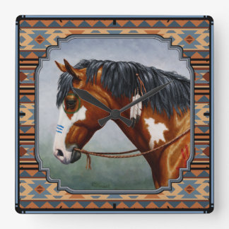 Bay Pinto War Horse Southwestern Design Square Wall Clock