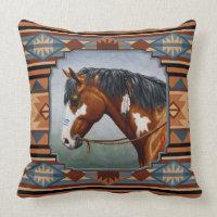 Bay Pinto War Horse Southwestern Design Throw Pillow