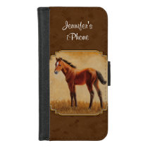Bay Quarter Horse Foal Brown iPhone 8/7 Wallet Case