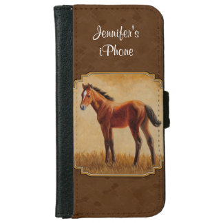 Bay Quarter Horse Foal Brown Wallet Phone Case For iPhone 6/6s