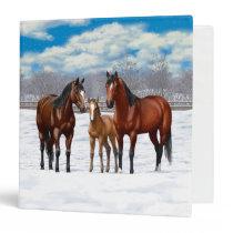 Bay Quarter Horses In Snow 3 Ring Binder