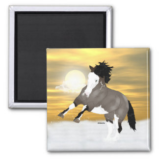 Bay Roan Overo Pinto Mustang Horse 2 Inch Square Magnet