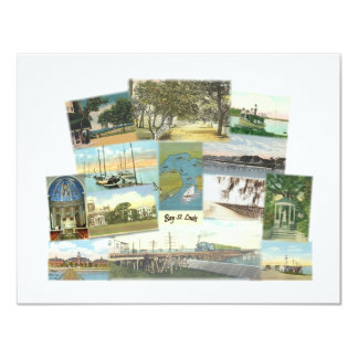 """Bay St. Louis Collage 4.25"""" X 5.5"""" Invitation Card"""