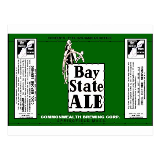 BAY STATE ALE BEER CAN DESIGN COMMONWEALTH BREWING POSTCARD